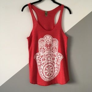 Alternative Apparel M Hamsa Hand Yoga Tank Red